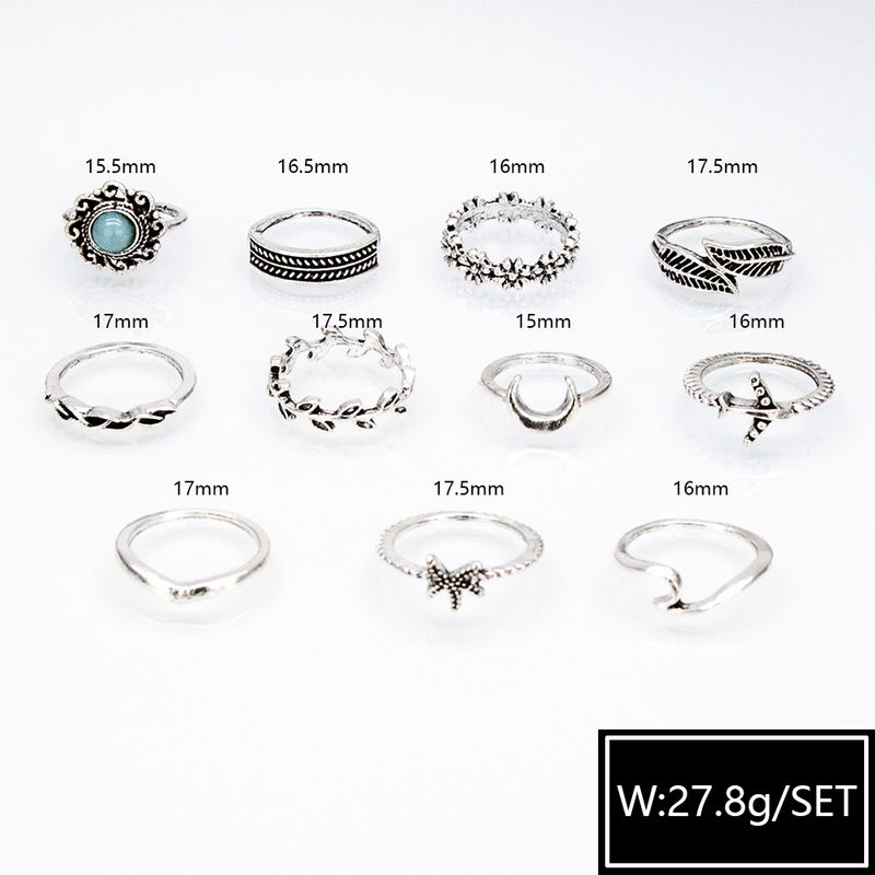 New Retro Combination Fashionable Diamond Carved Star Ring Set