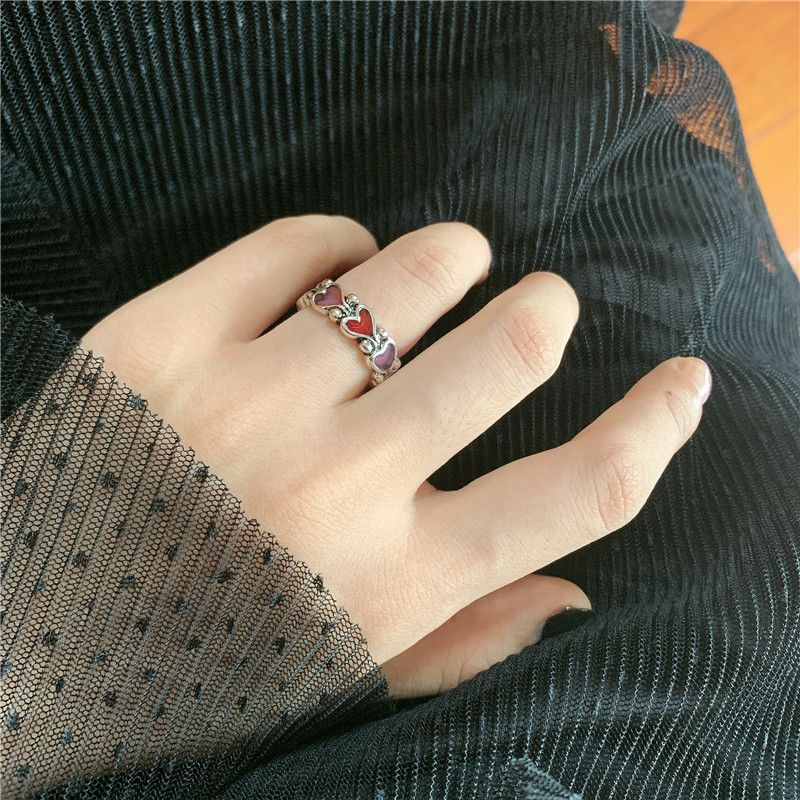 Korea Dark Line Retro Love-shaped Dripping Oil Red Peach Heart Couple Ring