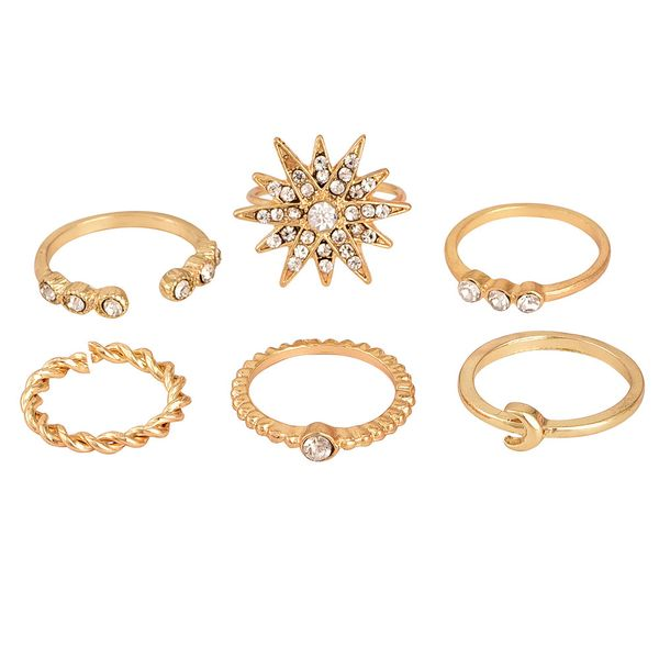 Popular New Full Diamond Star Moon Ring Set