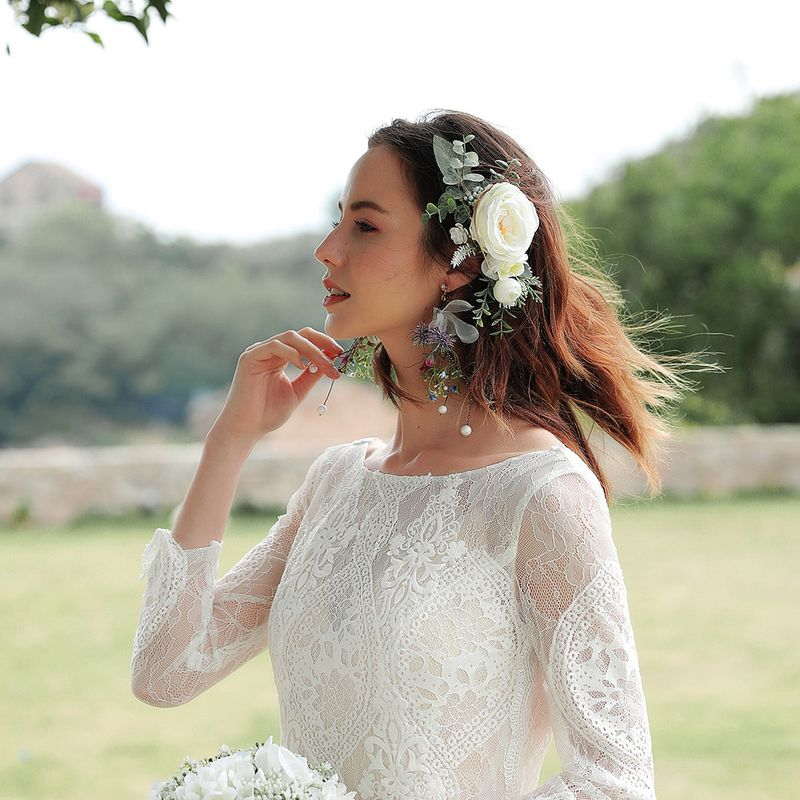 Bride Korean Cloth Simulation Flower Tassel Long Wedding Earrings