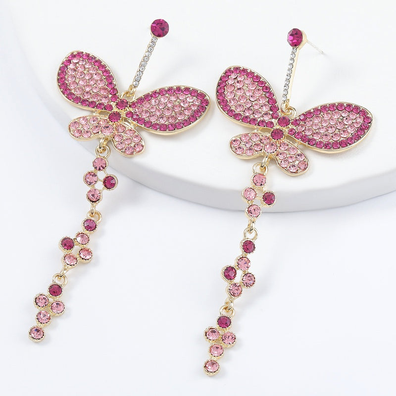 Alloy Rhinestone Butterfly Wings Earrings