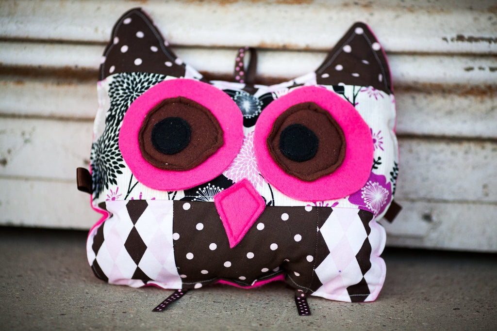 cute owl stuffed animal for baby and toddler in light pink and brown