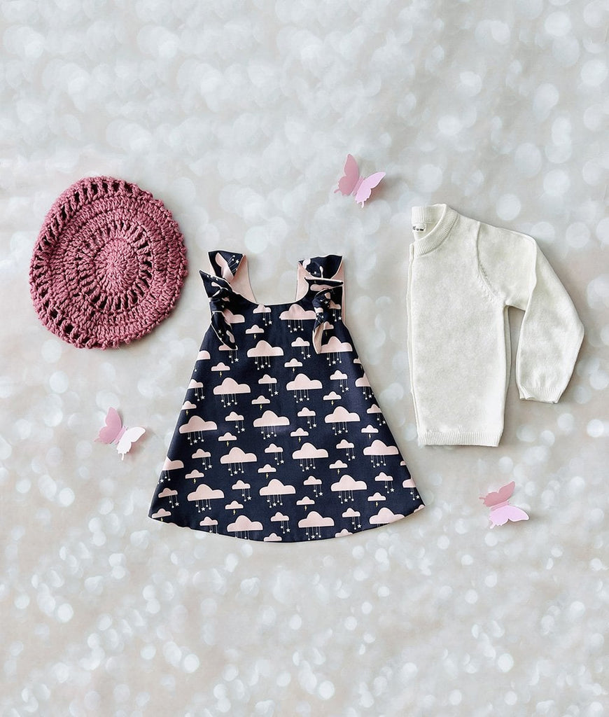 grey and blush pink cloud toddler dress with matching accessories