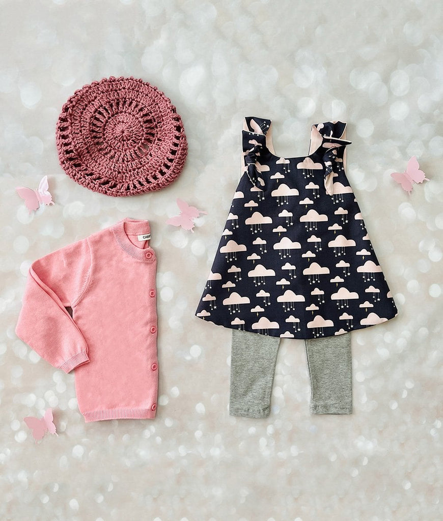 blush pink toddler dress and matching birthday outfit accessories