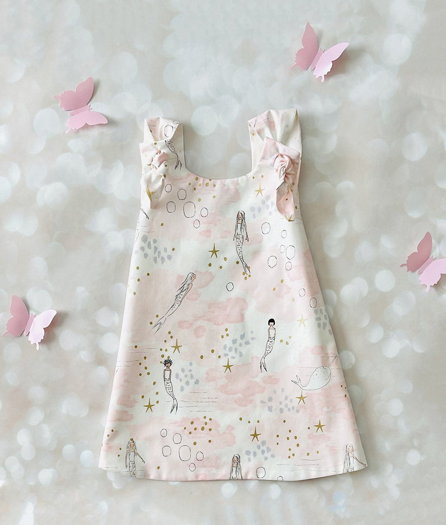 Blush pink and white mermaid dress for girls