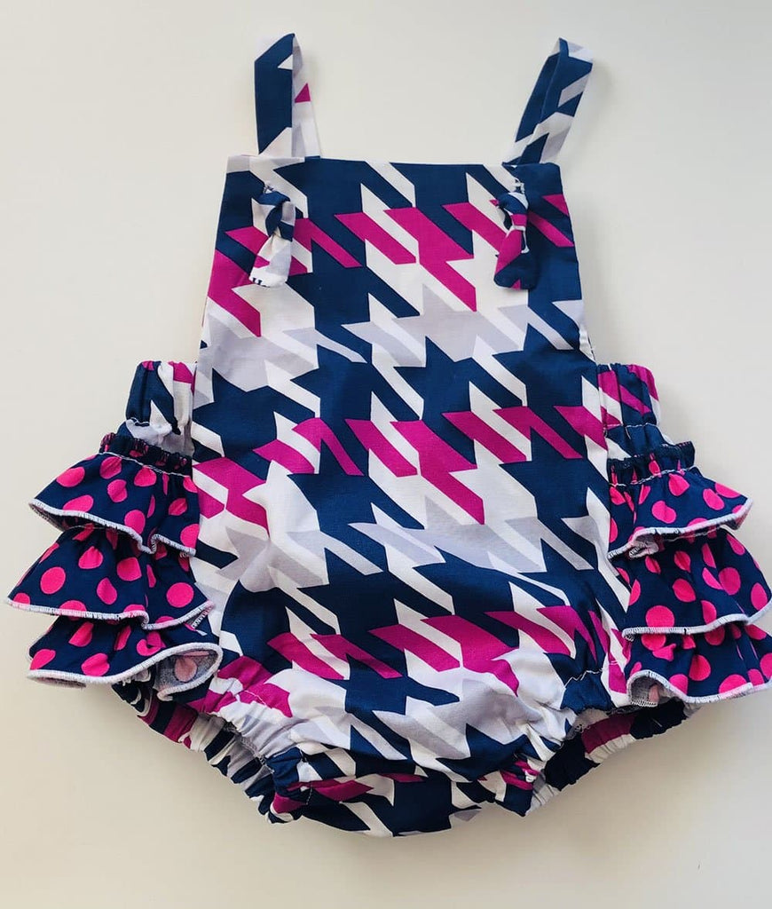 pink and navy baby romper for girls