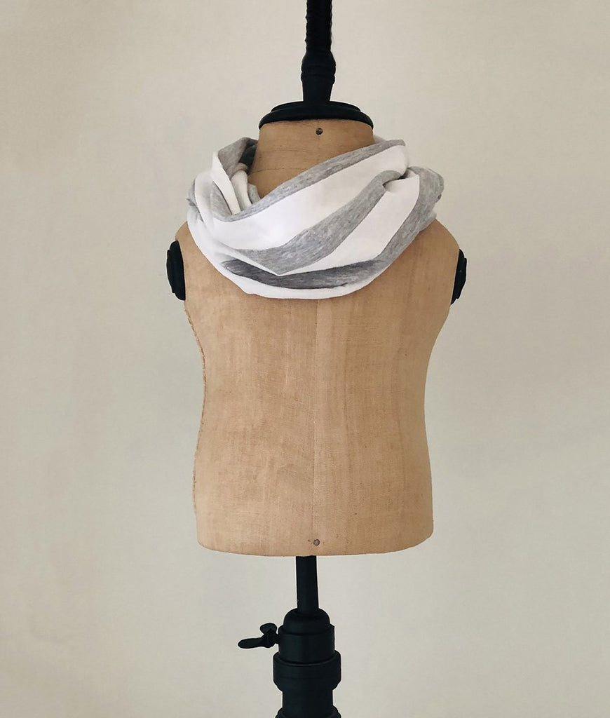 Grey and white striped baby scarf