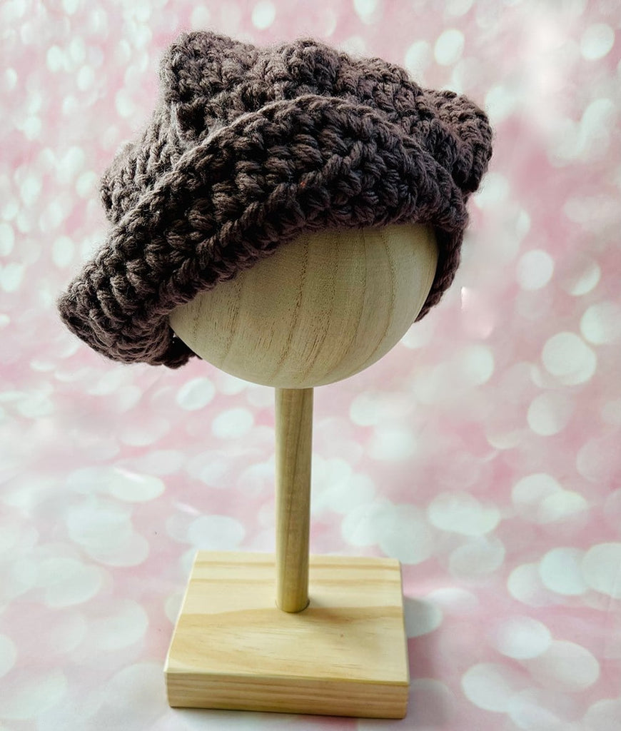 dark brown newsboy hat for baby