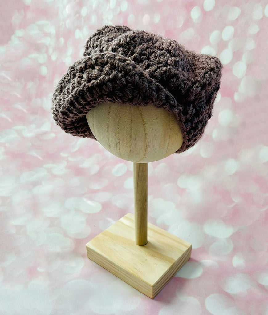 brown knit newsboy hat for baby or toddler