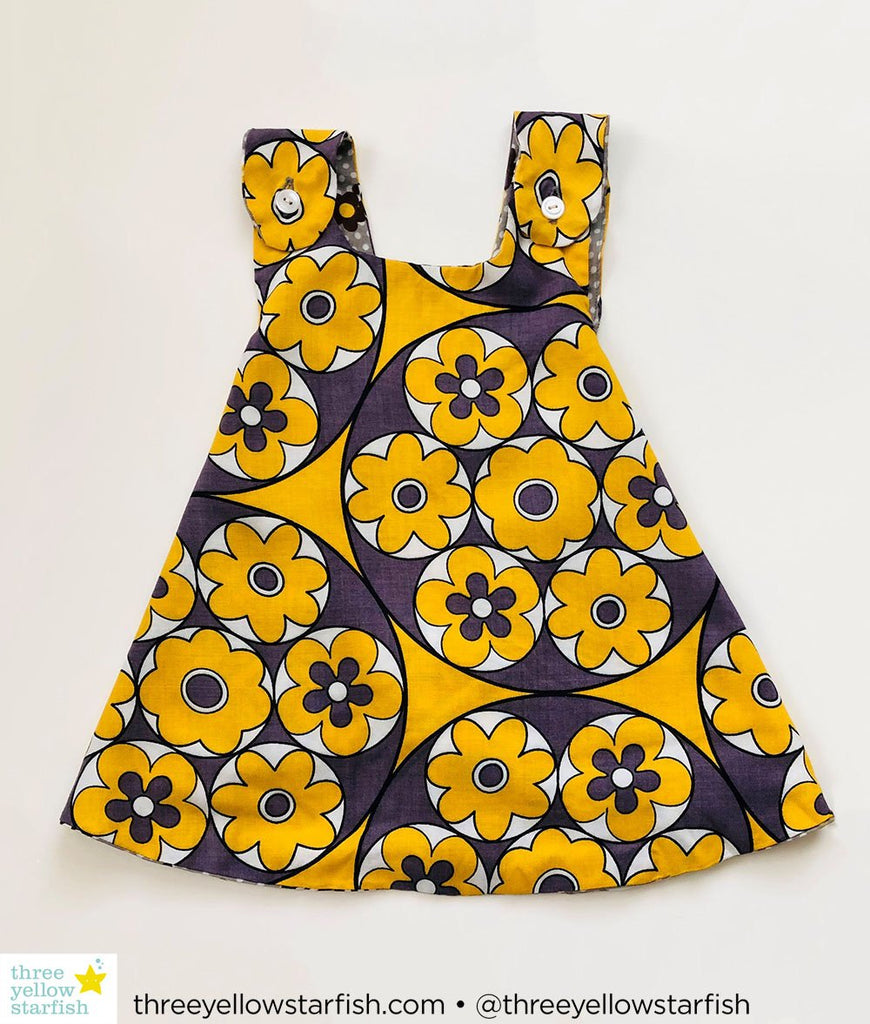 grey and yellow floral dress for girls