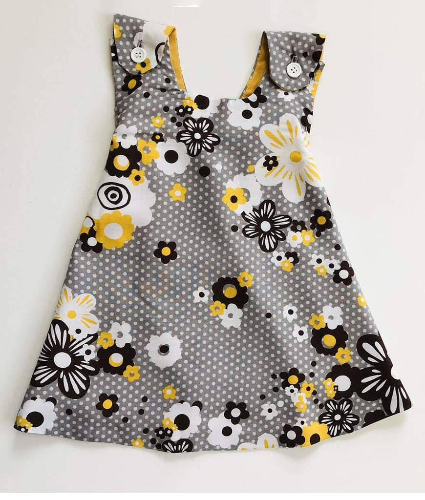 grey and yellow baby girl dress in floral print