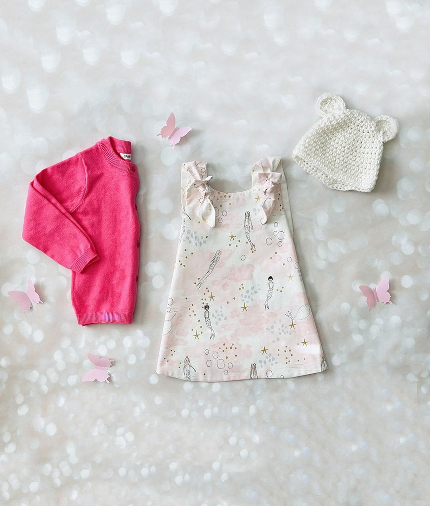 Baby girl outfit set - pink mermaid dress for girls, white bear hat, and hot pink cardigan