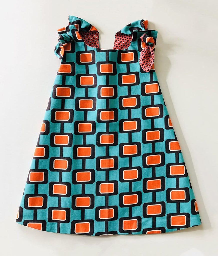vintage baby girl dress in green and orange