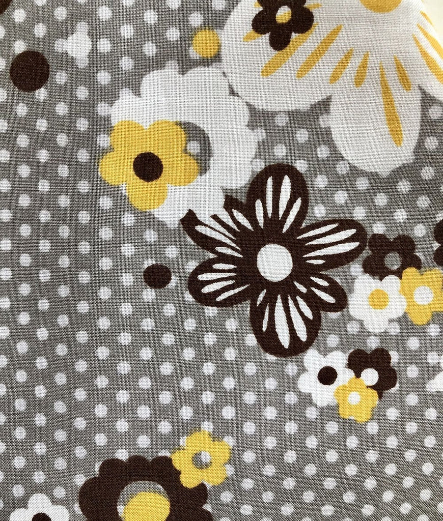 grey and yellow baby girl dress floral fabric swatch