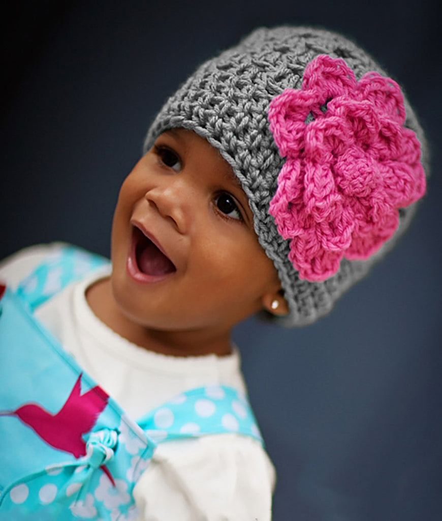 crochet baby girl beanie hat with pink flower accent