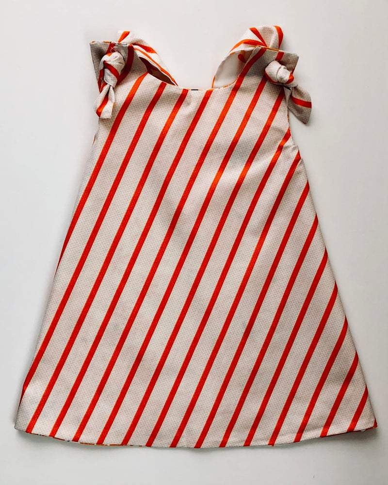 striped beige and orange dress for girls
