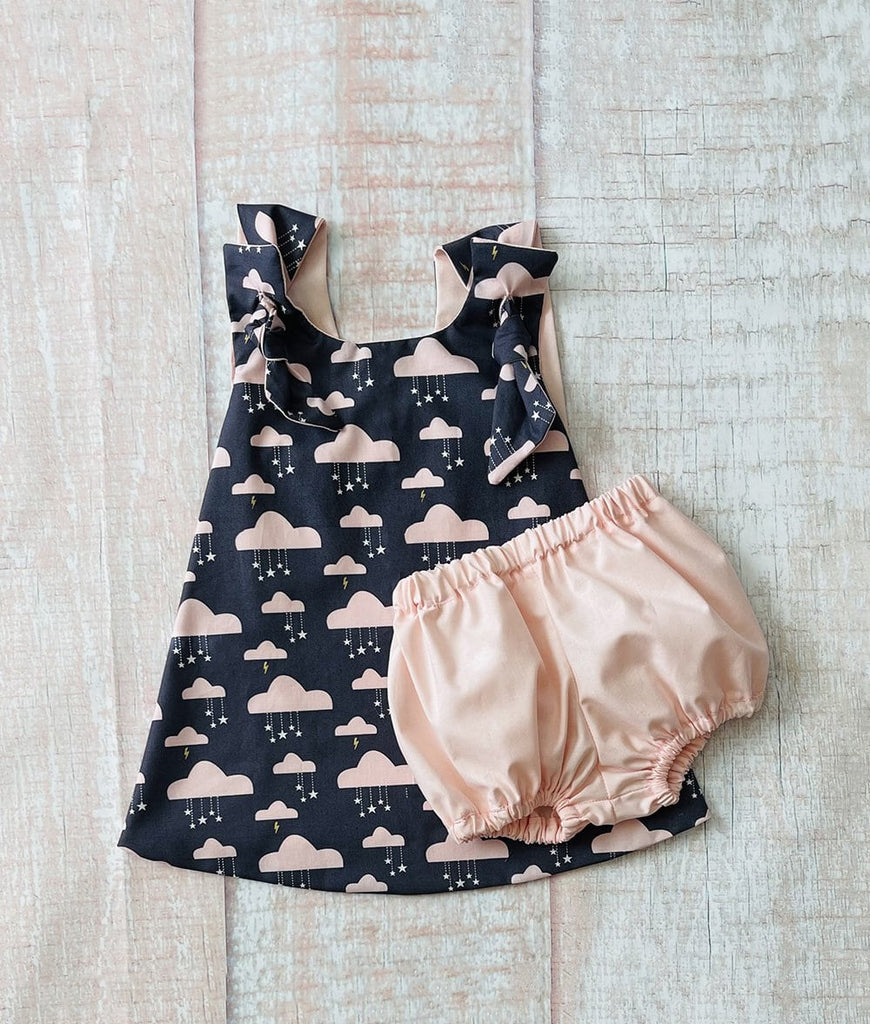 grey and blush pink toddler dress with matching baby girl bloomers