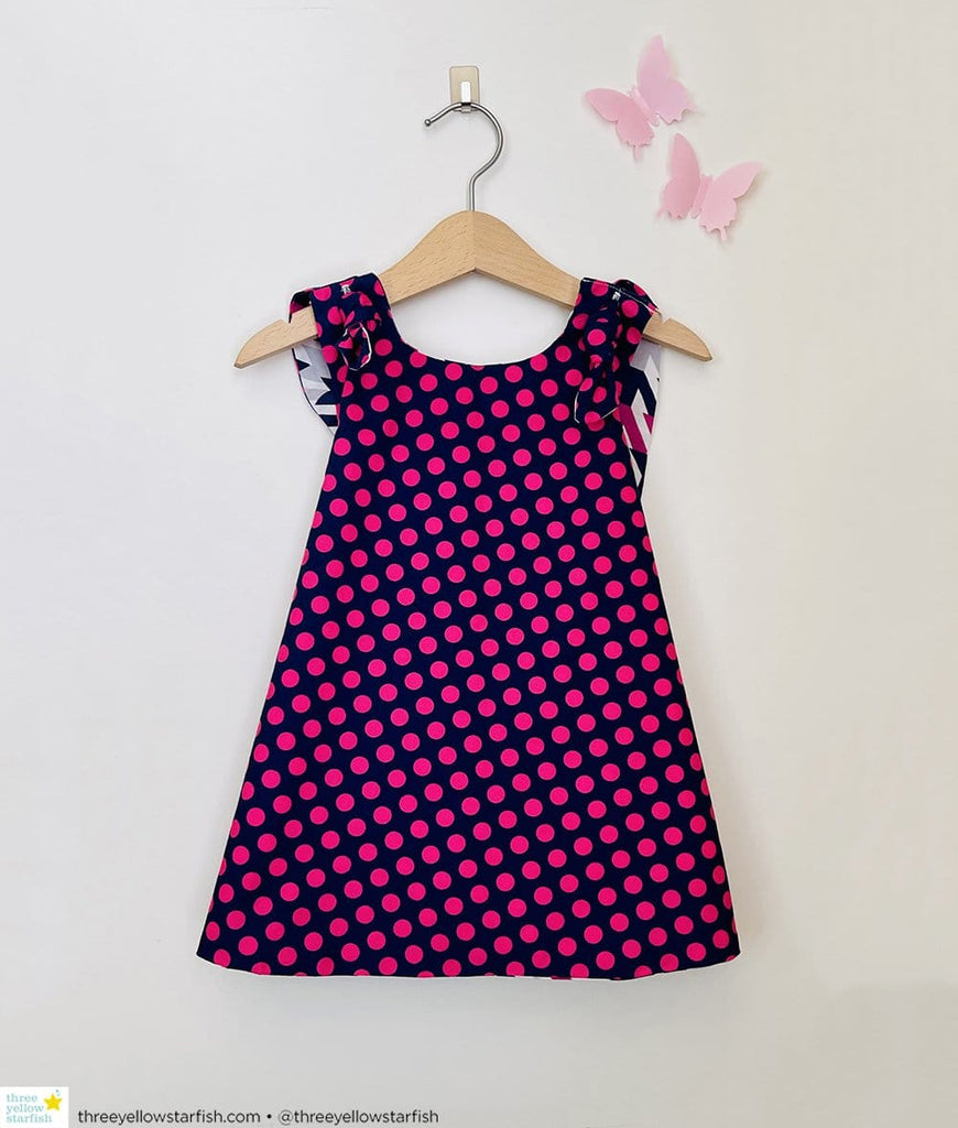 pink and purple polka dot dress for toddler