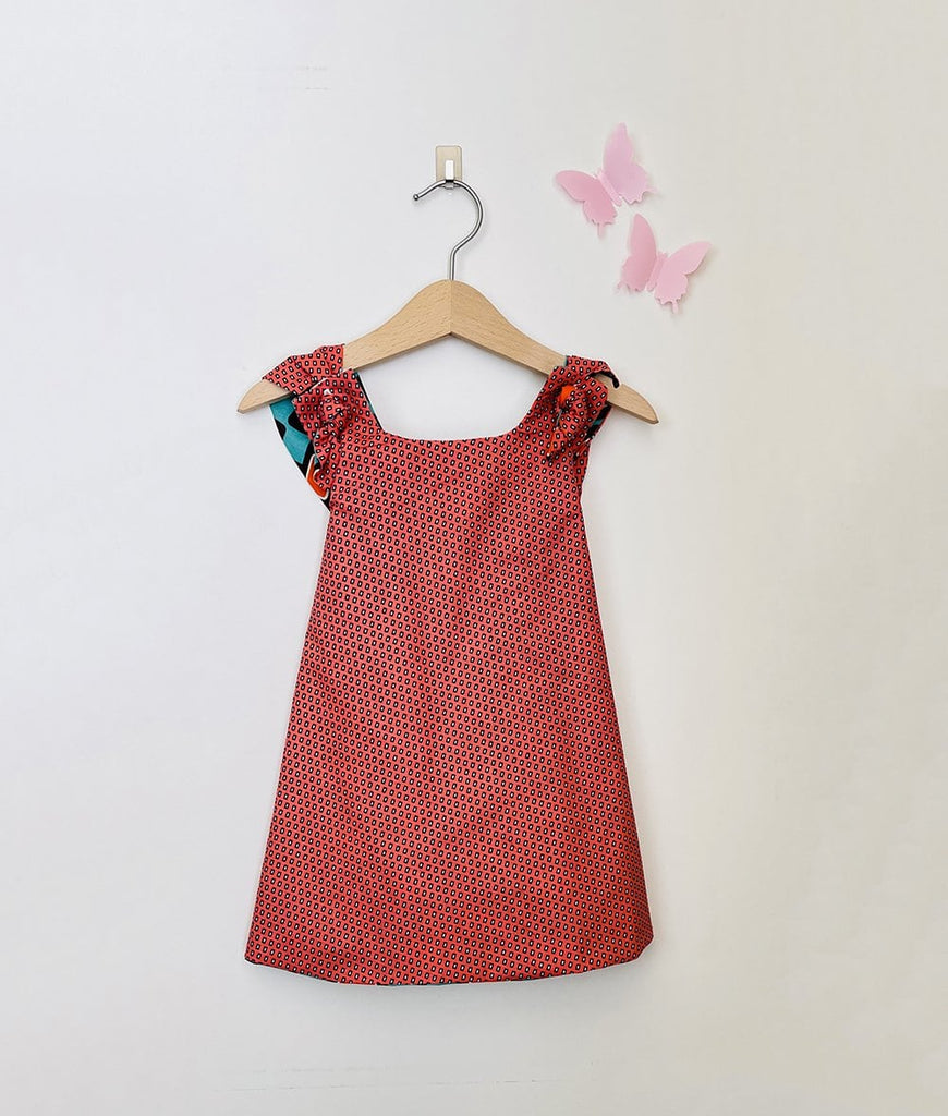 reversible vintage dress for baby girls in coral