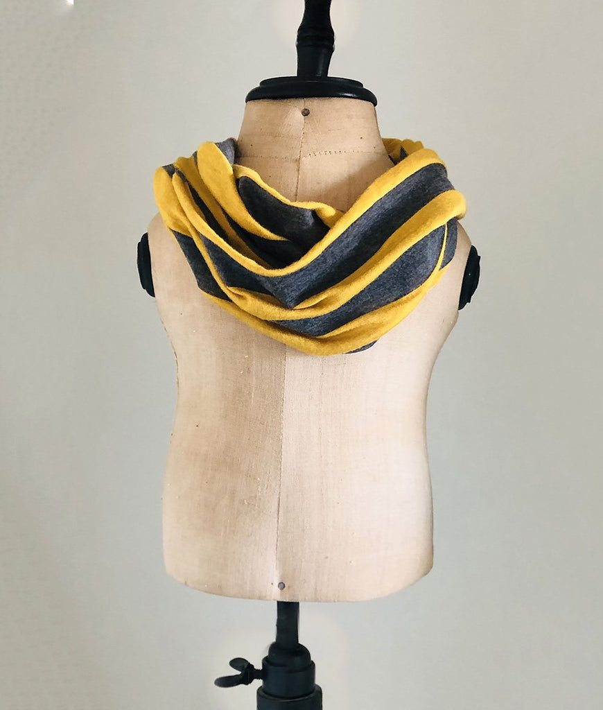 yellow and grey striped toddler scarf boys and girls gender neutral