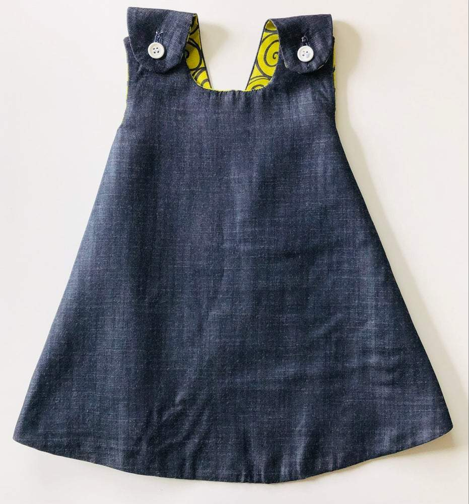 denim party dress for baby girls
