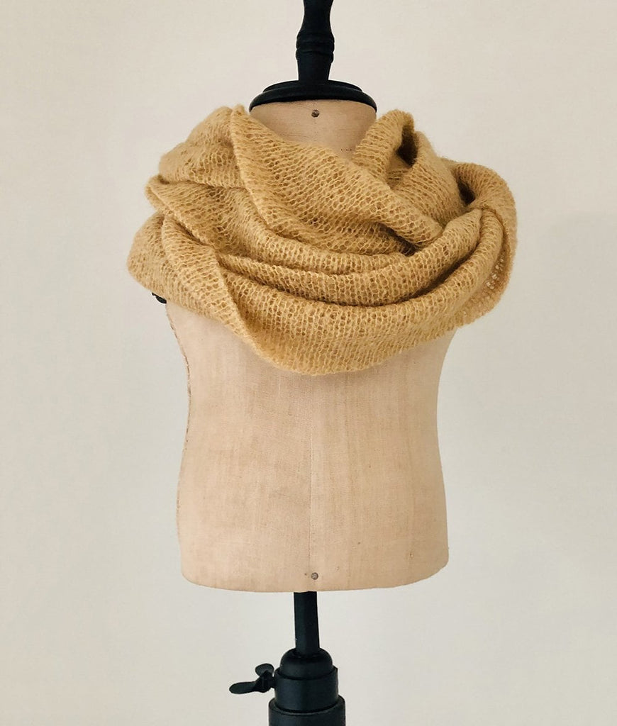 Tan jersey knit winter scarf for baby and toddlers