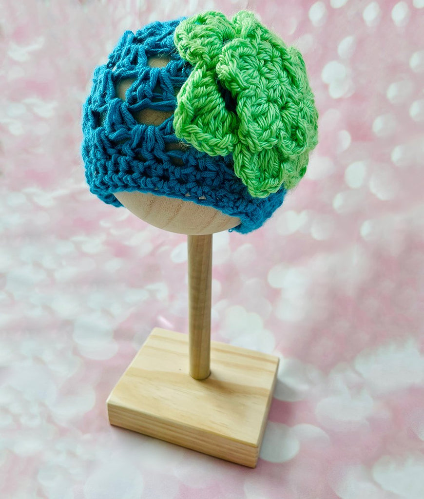 turquoise crochet baby girl beanie hat with lime green flower accent