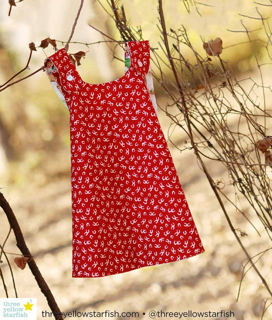 red pinafore vintage baby girl dress