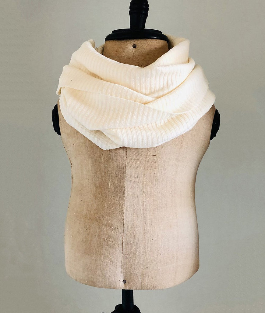 White jersey sweater knit winter scarf for girls and toddlers