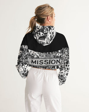 "Bay Area ""Mission Street"" Women's Cropped Windbreaker Hoodie"