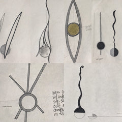 planning sketches of moon spoons