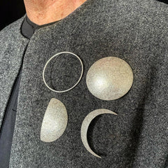silver moon phase brooches