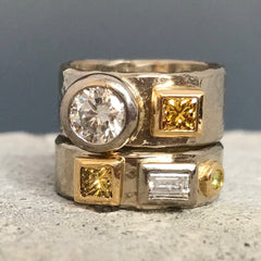white and yellow gold double ring set with yellow and white diamonds