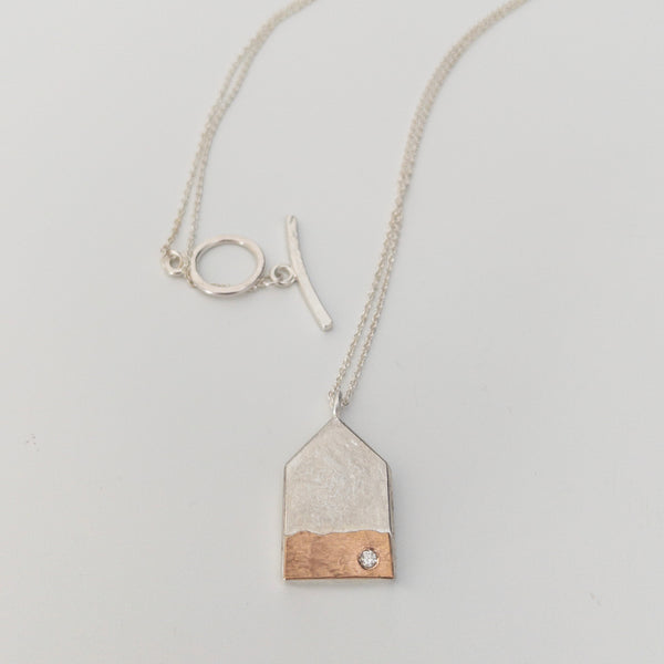 Large House necklace with rose gold