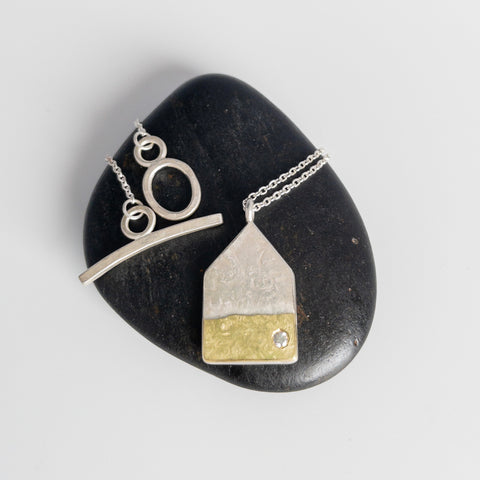 Large House pendant with yellow gold