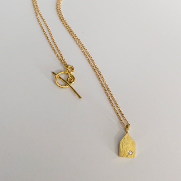 Small House pendant, yellow gold
