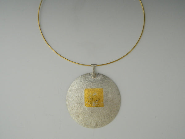Silver moon pendant with gold square