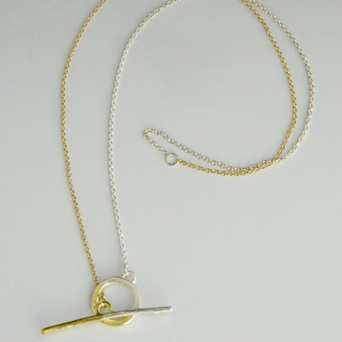 Sterling silver and 18k gold t-bar necklace