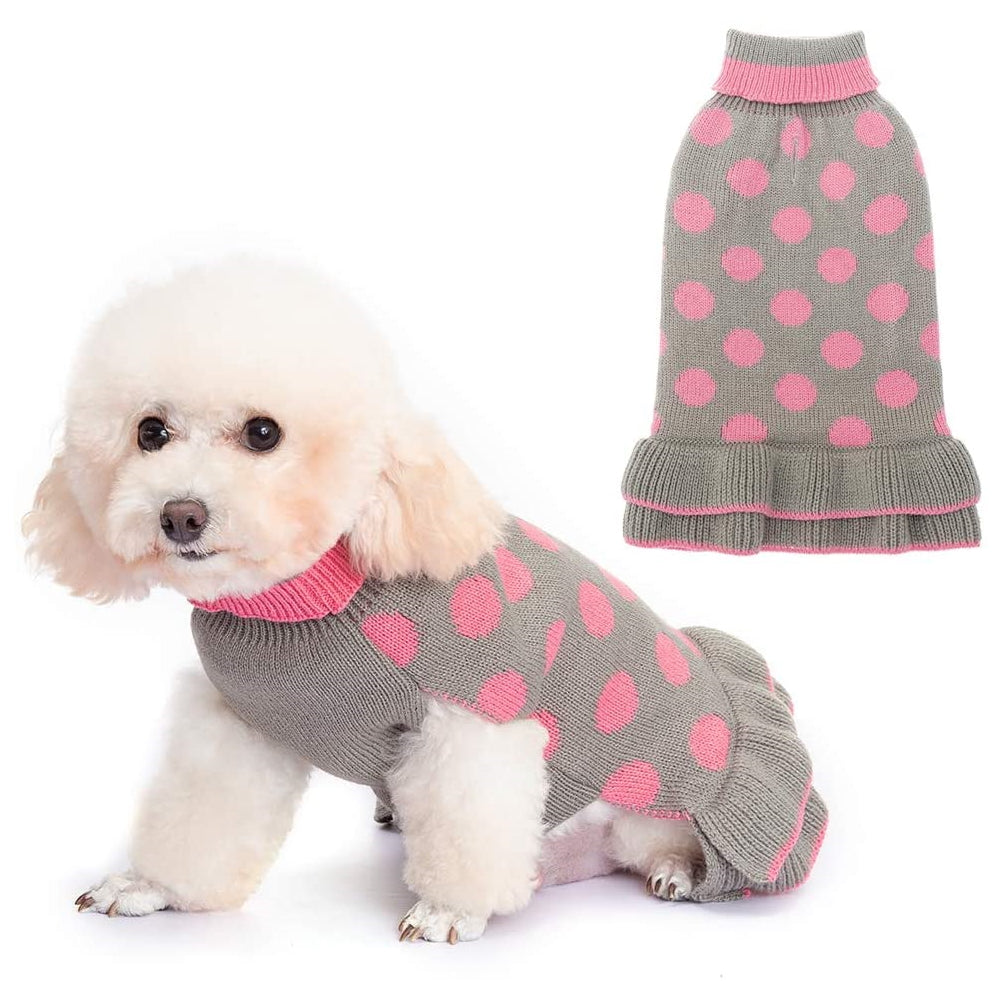 Puppy Sweater Dress - Polka Dot Turtleneck Knitwear Skirt for Small Dogs