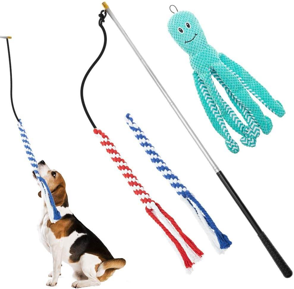 Pet Retractable Pole Toy  with 2 Rope Toys and 1 Plush Refill