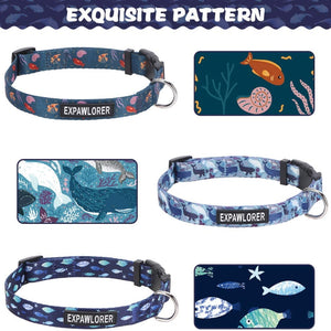 Ocean Cute Dog Collars for Small Medium Dogs, 3 Pack