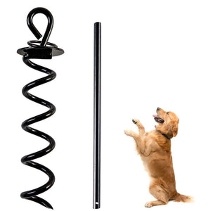 Dog Tie-Out Stake Heavy Duty - Anti-Rust Spiral Ground Anchor with Iron Handle for Large Dog