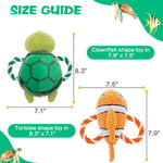 Load image into Gallery viewer, Dog Squeaky Rope Toys with Squeakers - 2 Pack ,Ocean-Clownfish & Tortoise