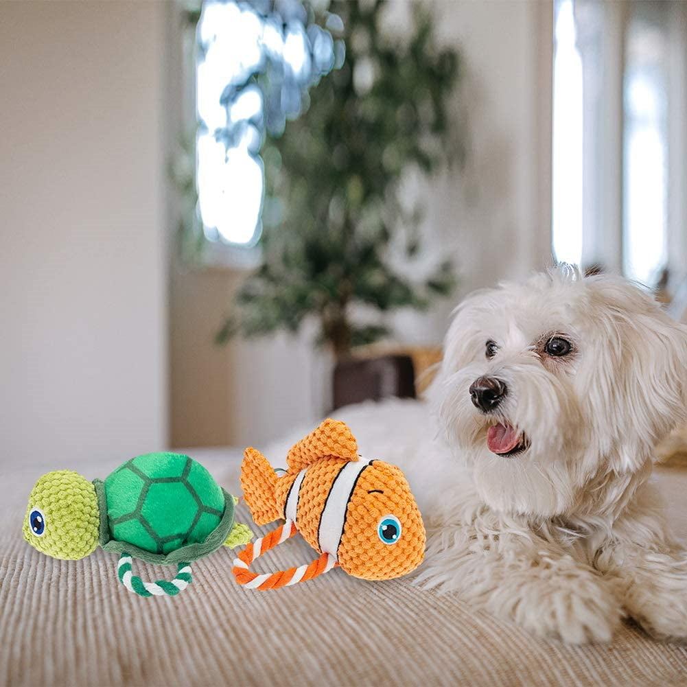 Dog Squeaky Rope Toys with Squeakers - 2 Pack ,Ocean-Clownfish & Tortoise