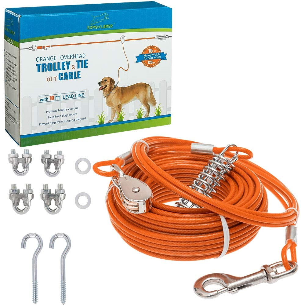 Heavy Weight Dog Run Cable, 360° Free Swivel Clip Design