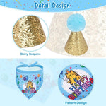 Load image into Gallery viewer, Cat Birthday Bandanna Hat Banner Set - Blue