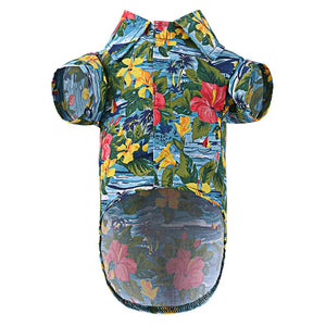 Dog Print Polo Shirt - Summer Hawaii Style for Puppy