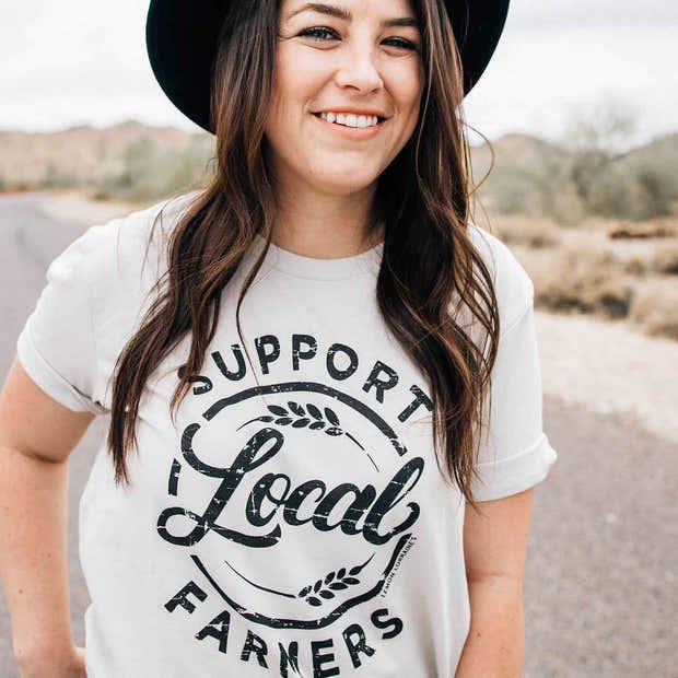 SUPPORT LOCAL FARMERS Oatmeal Triblend Graphic Tees 1