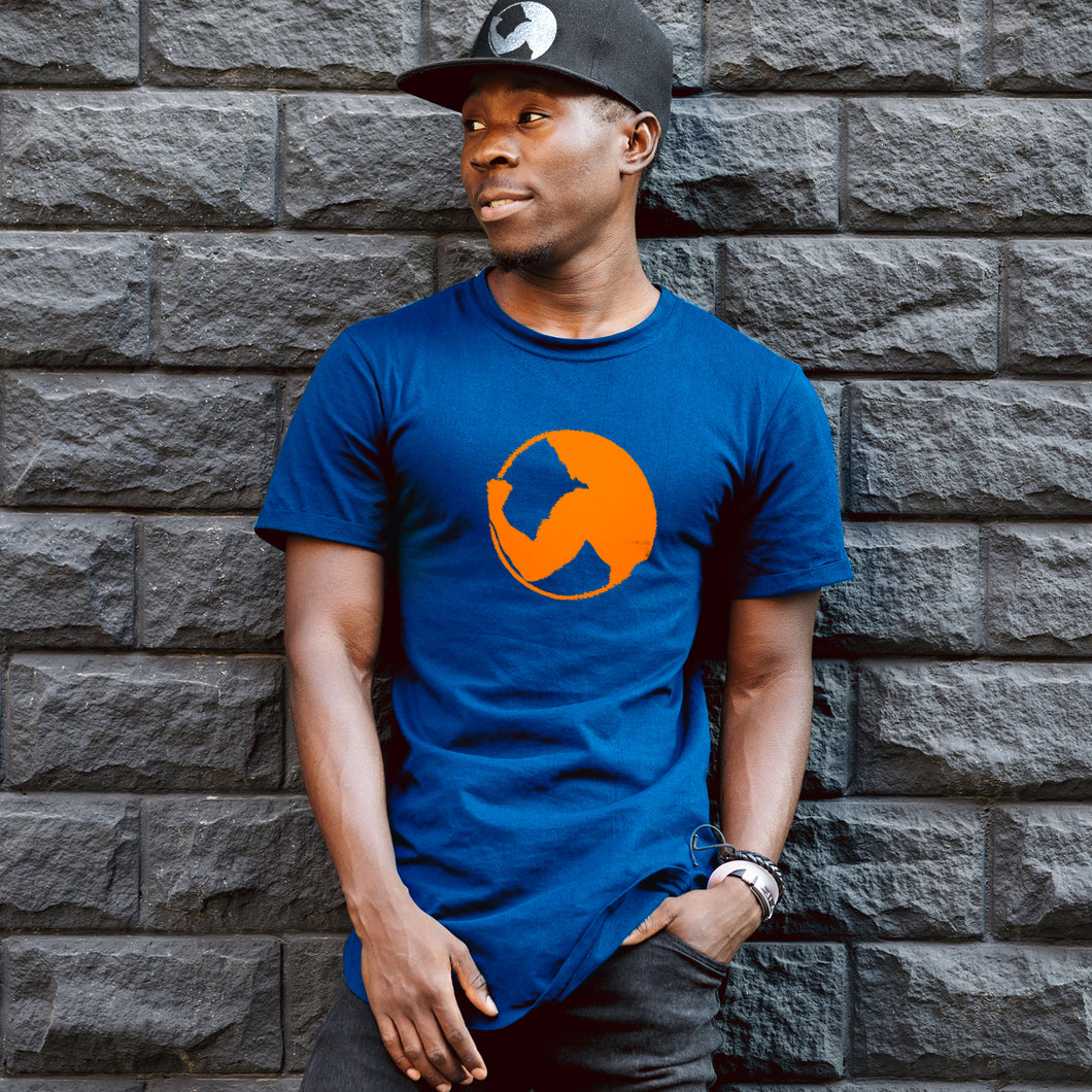 Orange Print Logo on Blue T