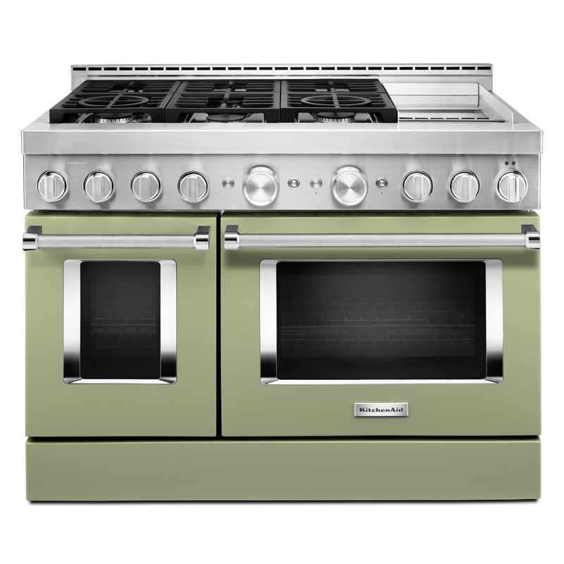 KitchenAid® 48'' Smart Commercial-Style Gas Range with Griddle KFGC558JBK